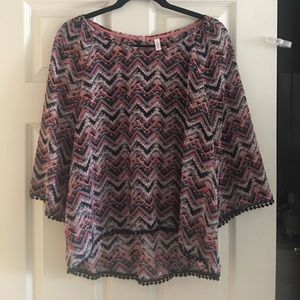 Chevron printed high-low blouse SZ L