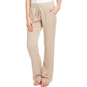 Three Dots Pants - Three Dots Tan Crepe Cotton Drawstring Pant
