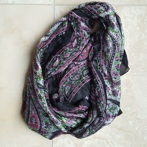 Accessories - Paisley Scarf W/Bead Trim (Pure Silk)