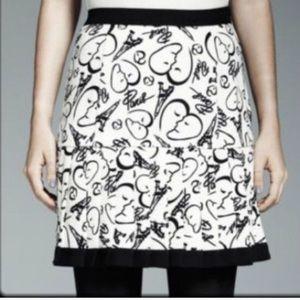 NEW CATHERINE MALANDRINO 14 Cream Black Mini Skirt