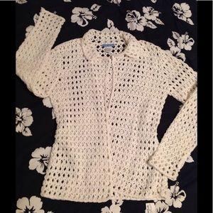 White + Warren Sweaters - White + Warren Open Knit Cotton Open Cardigan M