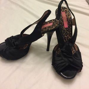 Betsey Johnson Shoes - Betsy Johnson satin sling back stilettos. 8 1/2