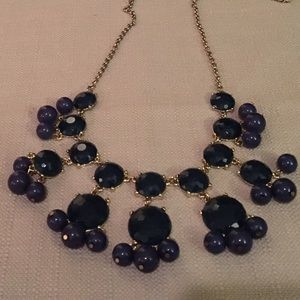 Dark blue and gold bubble necklace