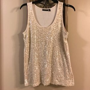 Apt.9 Tops - Off white tank top with square sequence detail.