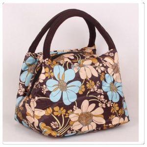 NWT Adorable Blue & Brown Nylon Floral Handbag