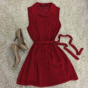 Kensie Dresses & Skirts - Red Dress w/ Front Buttons