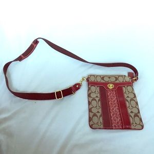 Coach crossbody red leather