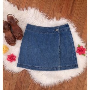 Vintage 90's High Waisted Denim Wrap Skirt 