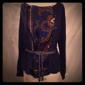 Sacai Tops - SACAI Navy Sweater with Silk Panel