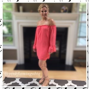 Pink Flamingo Boutique Dresses & Skirts - NEW Pink Off the Shoulder Bell Sleeve Tunic Dress