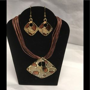 Unique geometric Necklace and earring set