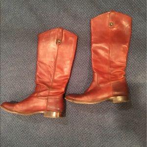 Melissa Button Frye Boots Cognac Leather