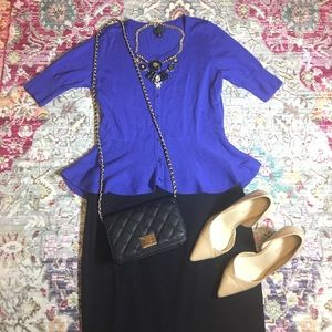 Blue Button Front Peplum Sweater