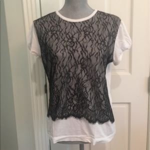 Behnaz Sarafpour Tops - Behnaz Sarafpour For Target T Shirt W Black Lace