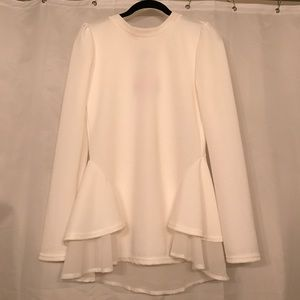chicwish Tops - White Long Sleeve Crepe Blouse NWT