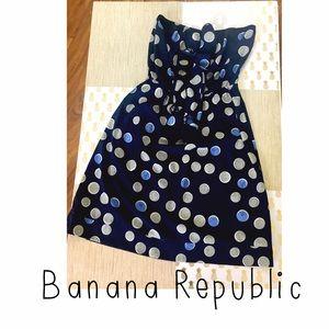 Banana Republic Strapless Dress Blue Polka Dots