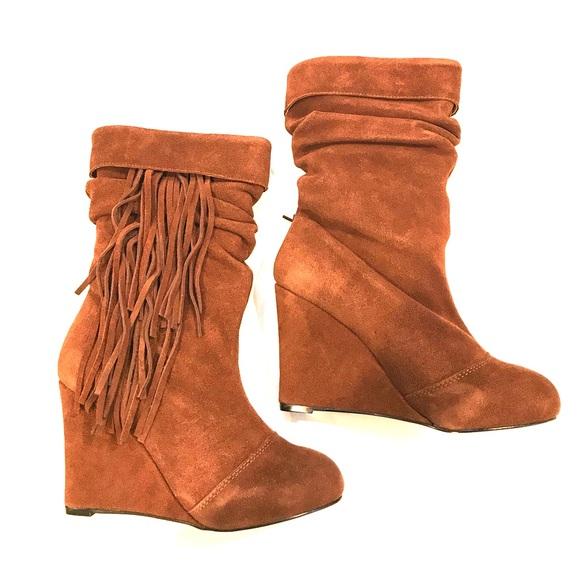 kelsey dagger kelsi dagger suede fringe wedge boots from