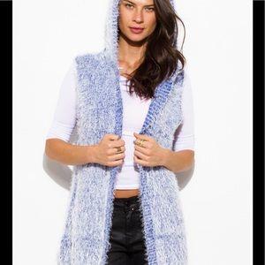 Jackets & Blazers - Hooded fuzzy sweater knit cardigan