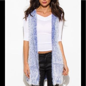 Jackets & Blazers - Cardigan Fuzzy Soft Sweater Knit Blue Hoodie Vest