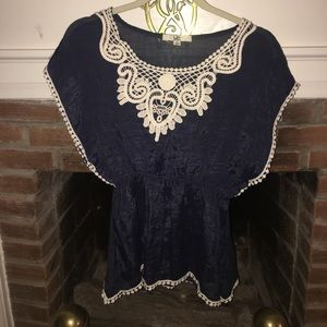 Ya Los Angeles Tops - Navy dolman top with crocheted lace neck