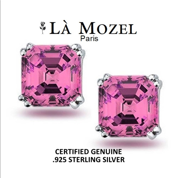 la mozel paris new pink sapphire asscher cut studs from