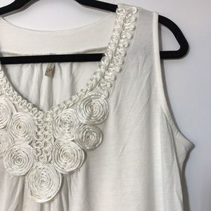 Olivia Moon Tops - Olivia Moon White Coiled Ribbon Blouse