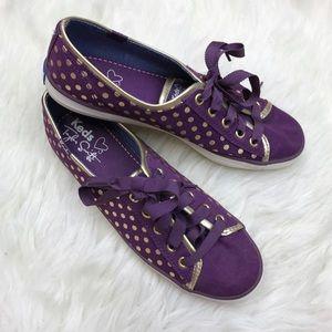Keds Shoes - Keds Taylor Swift Purple Gold Polka Dot Sneakers
