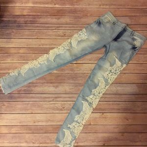 Stretch Faded Wash Lace Spliced Jeans
