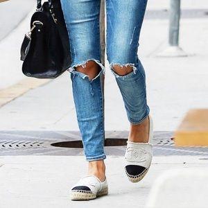CHANEL Shoes - White Canvas Chanel Espadrilles