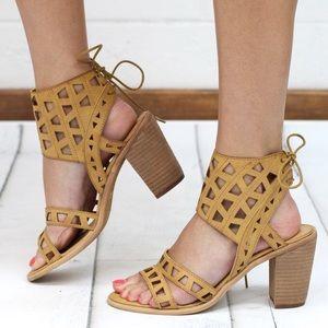 Boutique Shoes - Laser Cut with Bow Ankle Lace Up Sandals