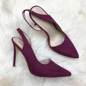 JustFab Shoes - Just Fab Ingriss Purple Suede Slingback Heels