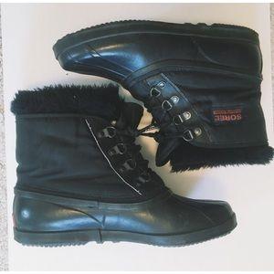 Sorel Shoes - Sorel Black Short Snow Boots with Fur Lining