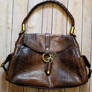 Francesco Biasia Handbags - FRANCESCO BIASIA brown snake embossed bag