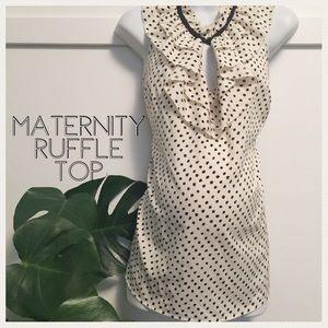 Motherhood Maternity polkadot ruffle top large