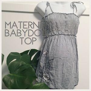 Maternity baby doll top nautical stripes medium