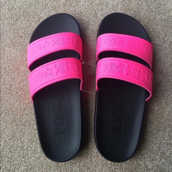 d04ef755df33 Large PINK Double Strap Slides Size 9-10