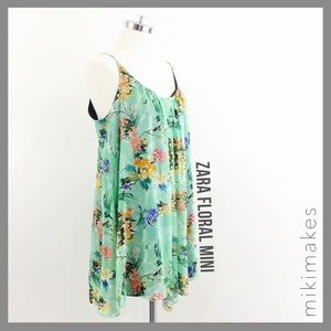 [ zara ] green floral swing mini dress low back