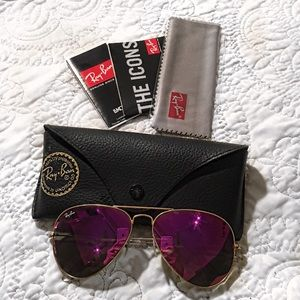 Ray-Ban Accessories - 💗 RAY-BAN PINK MIRRORED AVIATORS 💗