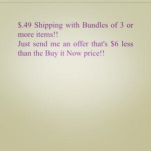 $.49 shipping & 15% bundle discount!! 