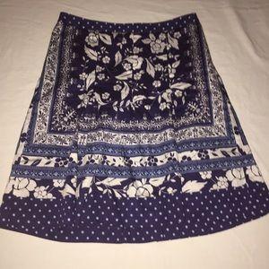Ann Taylor Loft Petites Blue & White Floral Skirt
