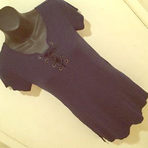 Derek Heart Tops - 🔆SALE🔆Navy Blue Front Tie Up T-Shirt