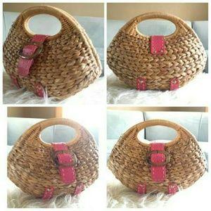 Handbags - Wicker Bowler Handbag Purse with Pink trim