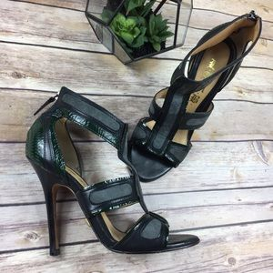 L.A.M.B. Shoes - L.A.M.B. Caged Heels Green & Black