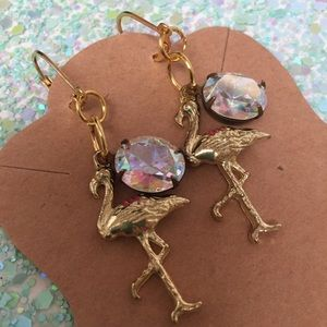 Flamingo earrings gold bling tropical 🌴