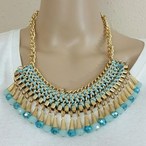 1 Madison Jewelry - Women's Gold Turquoise Statement Necklace