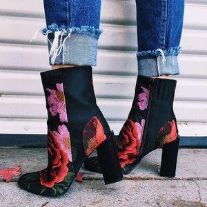 LF Shoes - LF Jeffrey Campbell rose print booties