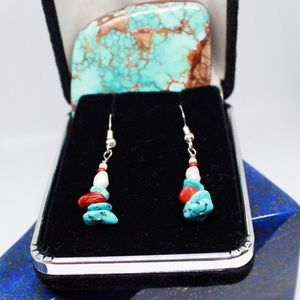 Jewelry - Coral and Turquoise Dangle Earrings SP0021