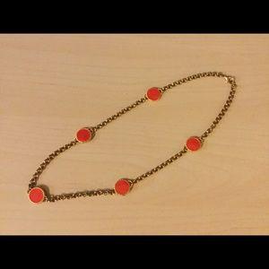 CC Skye Jewelry - Gold Tone Orange Enamel Station Necklace