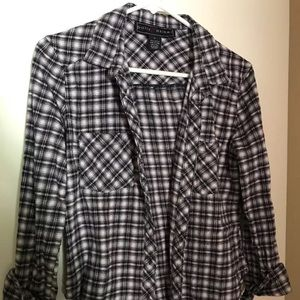 Polly & Esther Tops - Polly & Esther Blue White  Plaid Shirt