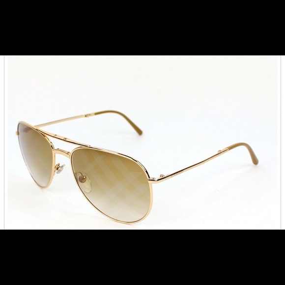 c6e2177addcd Burberry Accessories - BURBERRY AVIATOR FOLDING GOLD SUNGLASSES B3071